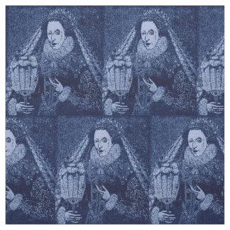 Tecido Rainha Elizabeth mim no impressão azul