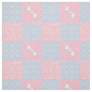 Tecido Retalhos cor-de-rosa e azuis do damasco com nome