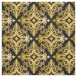 Tecido retro do teste padrão de Vonster do ouro