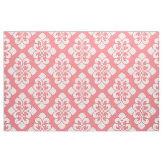 Tecido Rolo branco do damasco no rosa coral