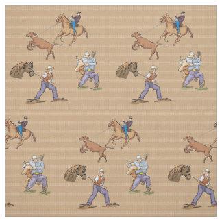 Tecido Roping do boi do cavalo ocidental dos