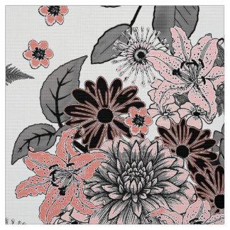Tecido Rosa de jardim e FTDP cinzento