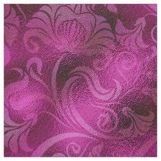 Tecido Rosa floral ID461 da magenta do Shimmer do damasco