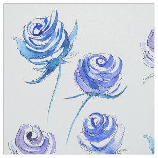 Tecido Rosas azuis brilhantes
