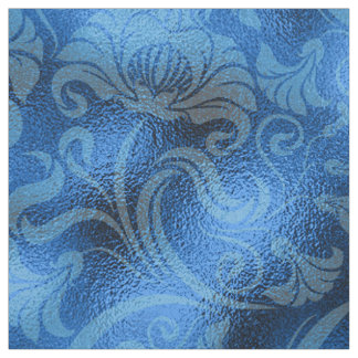 Tecido Safira floral ID461 azul do Shimmer do damasco