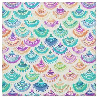 Tecido Scallop colorido da sereia do ARCO-ÍRIS MERMACITA