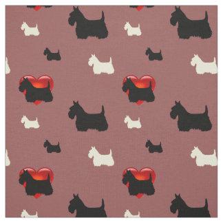 Tecido Scottish coração preto/branco de Terrier da