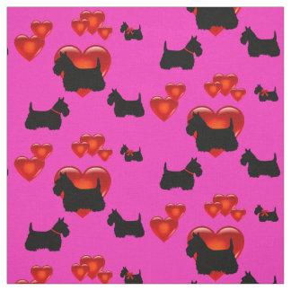 Tecido Scottish coração preto/wheaten de Terrier da