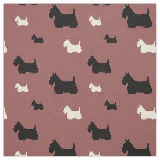 Tecido Scottish silhueta preta/branca de Terrier