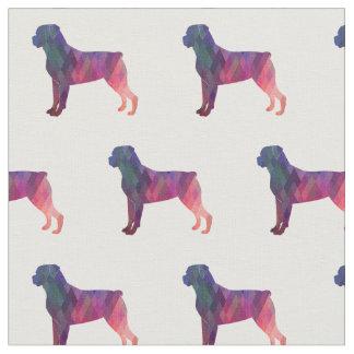 Tecido Silhueta de Rottweiler telhada - rosa