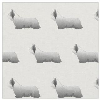 Tecido Silhueta de Skye Terrier telhada - básico