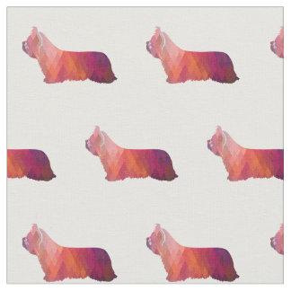 Tecido Silhueta de Skye Terrier telhada - rosa