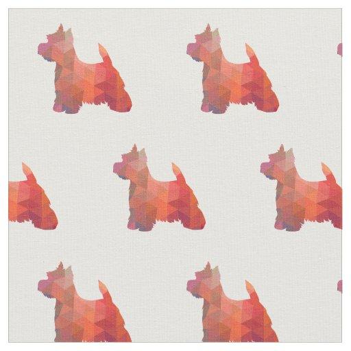 Tecido Silhueta de Westie Terrier telhada - laranja
