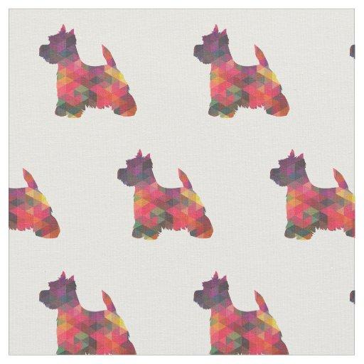 Tecido Silhueta de Westie Terrier telhada - multi