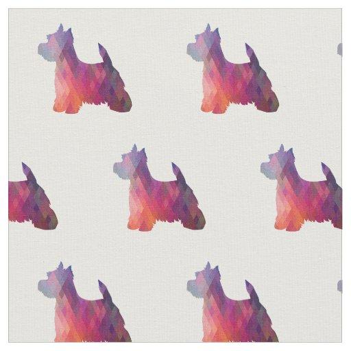 Tecido Silhueta de Westie Terrier telhada - rosa