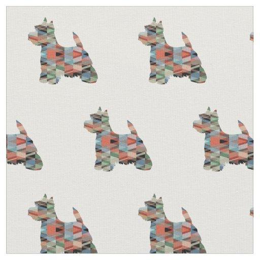 Tecido Silhueta de Westie Terrier telhada - xadrez