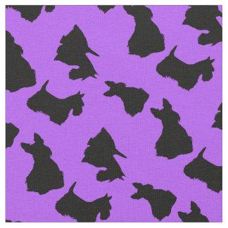 Tecido Silhueta preta de Terrier do Scottish, lavanda