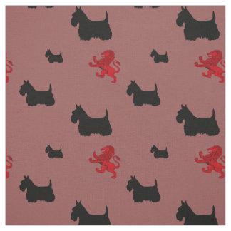 Tecido Silhueta preta de Terrier do Scottish/leão