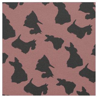 Tecido Silhueta preta de Terrier do Scottish, marrom do
