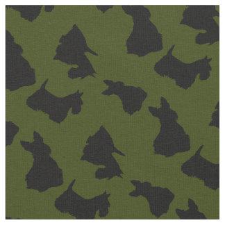 Tecido Silhueta preta de Terrier do Scottish, verde de