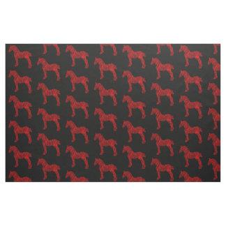 Tecido Silhueta vermelha e preta do cavalo de esboço