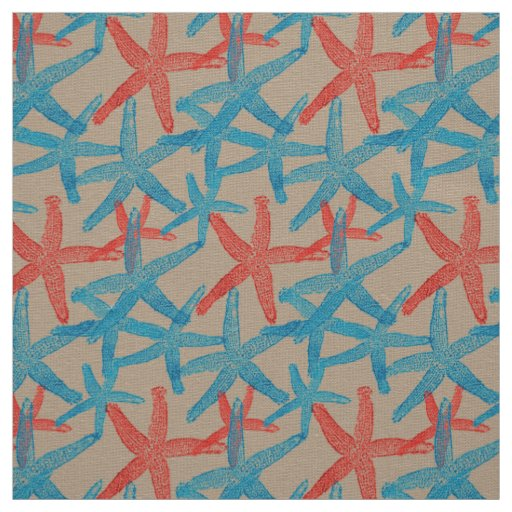 Tecido taupe náutico do vermelho azul da praia da estrela
