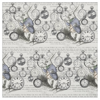 Tecido Tempo branco Alice do coelho no país das