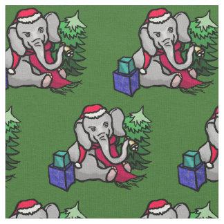 Tecido Teste padrão adorável do elefante do papai noel do