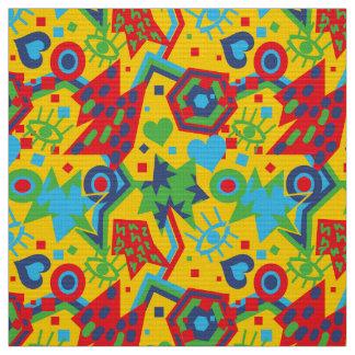 Tecido Teste padrão amarelo brilhante legal do pop art do