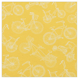 Tecido Teste padrão amarelo da bicicleta do vintage