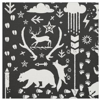 Tecido Teste padrão animal rústico da floresta do Fox dos