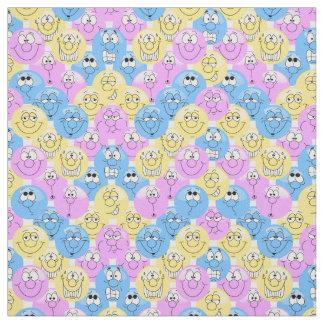 Tecido Teste padrão azul, cor-de-rosa e amarelo de Emoji