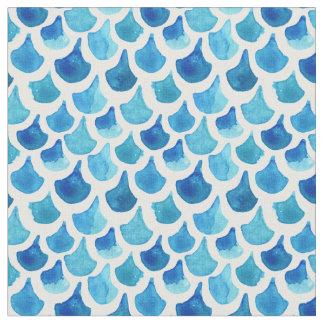 Tecido Teste padrão azul da escala da aguarela