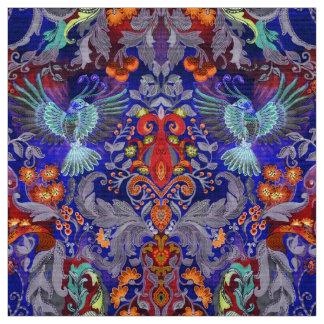 Tecido Teste padrão azul do lux do pássaro do jardim