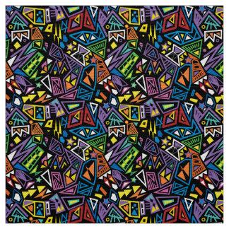 Tecido Teste padrão azul preto brilhante legal do pop art