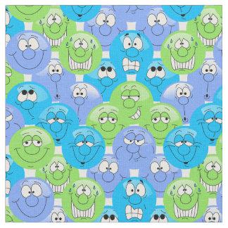 Tecido Teste padrão azul, roxo e verde de Emoji