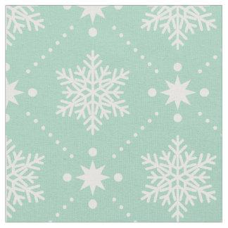 Tecido Teste padrão branco verde do Natal dos flocos de