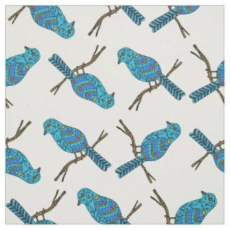 Tecido Teste padrão com pássaros azuis