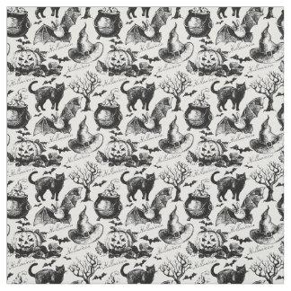 Tecido Teste padrão das abóboras dos gatos pretos do Dia