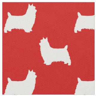 Tecido Teste padrão das silhuetas de Terrier de seda