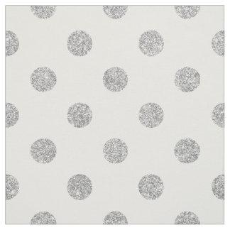 Tecido Teste padrão de bolinhas de prata elegante do