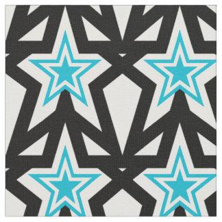 Tecido Teste padrão de estrela azul brilhante do Aqua
