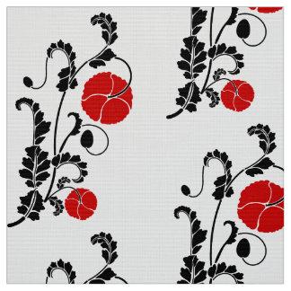 Tecido Teste padrão de flor vermelho e preto da papoila