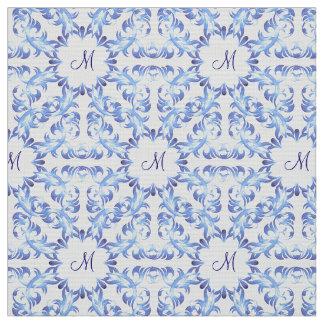 Tecido teste padrão do azul do damasco. monograma