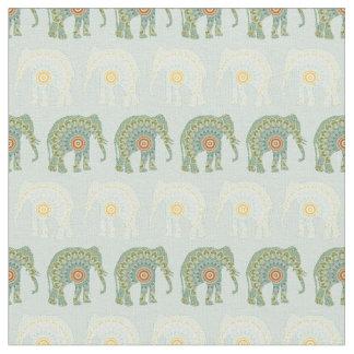 Tecido Teste padrão do elefante e da mandala na luz -