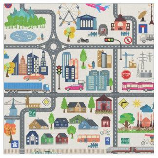 Tecido Teste padrão do mapa da cidade