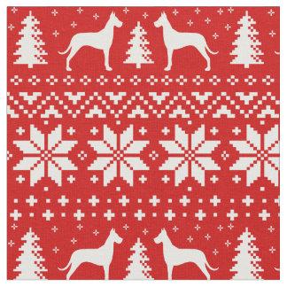 Tecido Teste padrão do Natal das silhuetas de great dane