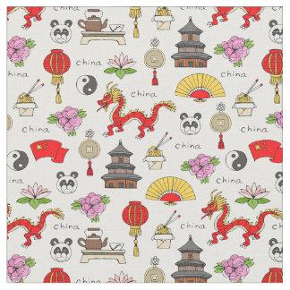 Tecido Teste padrão dos símbolos de China