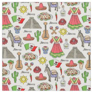 Tecido Teste padrão dos símbolos de México |