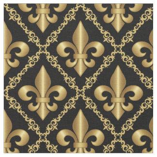 Tecido Teste padrão dourado decorativo da flor de lis